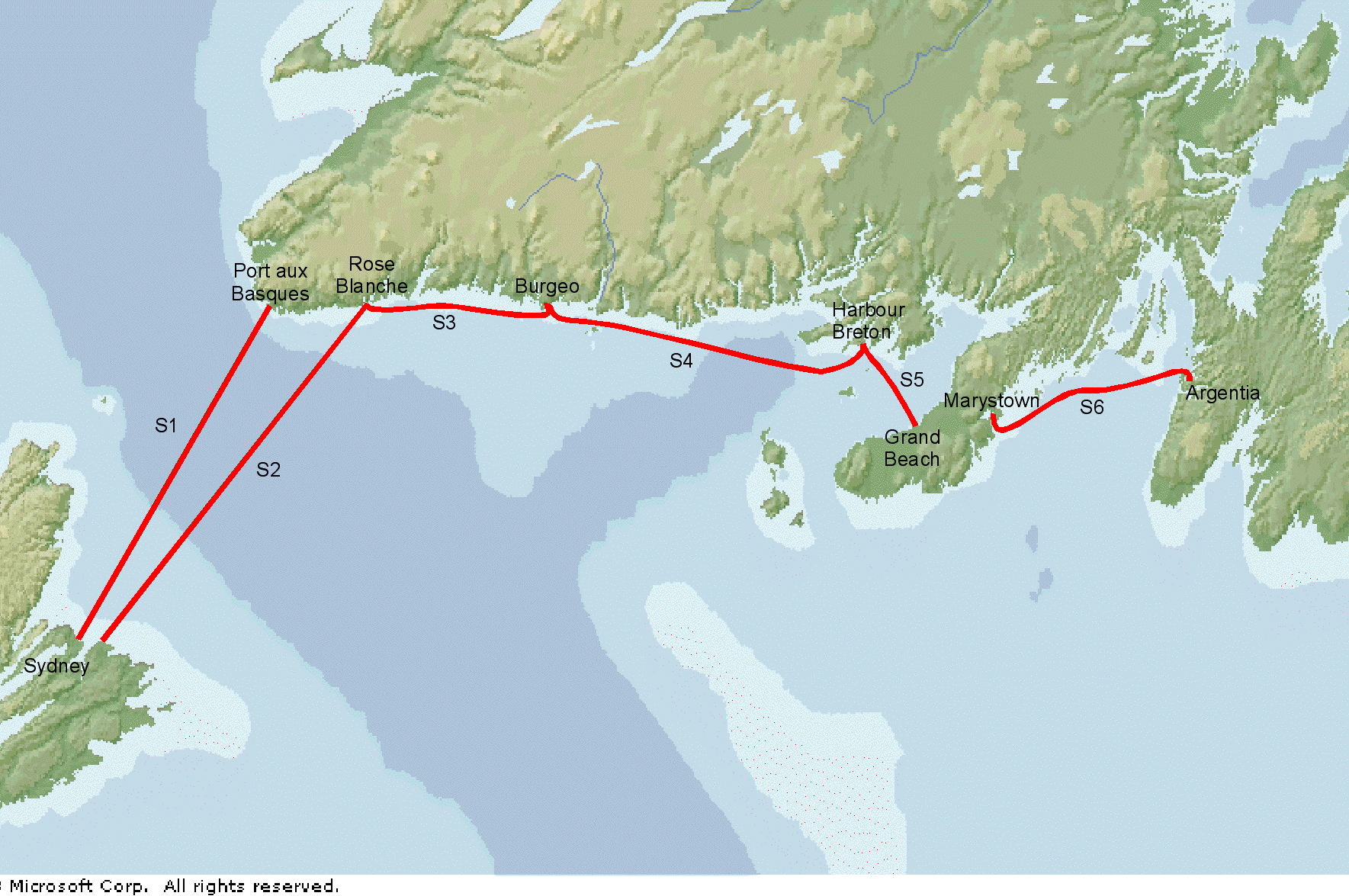 Undersea cables between Newfoundland, PEI and Cape Breton